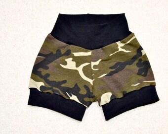 Army Shorts, Green Brown Camo Baby Shorts, Toddler Cuff Shorts, Boy Shorts, Kids Shorts, Baby Gift