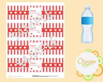 PRINTABLE Happy Valentine's Day Water Bottle Labels - Valentine's Day Party Decor Water Bottle Wrappers - INSTANT PDF Download