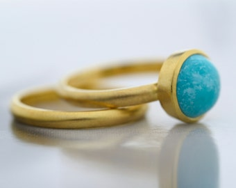 9ct yellow gold turquoise engagement ring turquoise ring stackable ring birthstone ring - Turquoise Wedding Rings