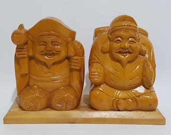 The Seven Lucky Gods Shichifukujin Tandem of Ebisu and Daikokuten Wooden Display Statue, CecysAsianShop