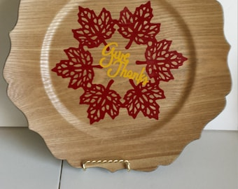 Give Thanks Decorative Plate Fall Leaves
