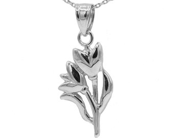 10k White Gold Tulip Necklace