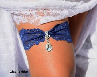 Wedding Garter Blue, Navy Blue Garters, Lace Garter Set, Blue Bridal Garter, Navy Blue Garter, lingerie Garter, Something Blue, Garter Set