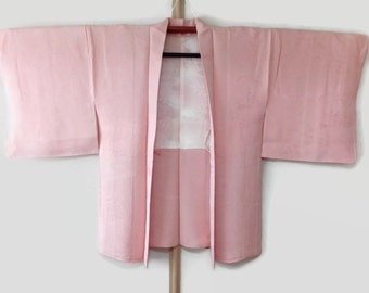 Coral Pink Haori Kimono Jacket With Kasumi Tsuyushiba Floral Motif, Rinzu Silk Kimono, Asian Jacket, Kimono Cardigan, Fast Delivery JA0031VH