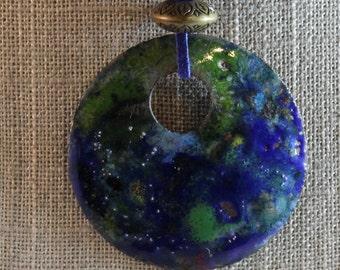 Enameled Copper Disc Pendant (022017-001)