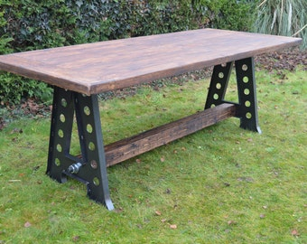 Large Industrial Reclaimed Farmhouse Rustic Vintage Loft Style Dining Table