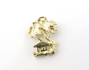 Vintage 14K Yellow Gold Tropical Pendant with Palm Trees #879
