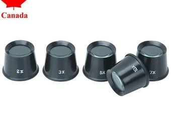 PARUU® 5 Piece set of Eye Loupe Magnifying Glass Magnifier Plastic Body 2x 3x 5x 7x 10X st205-5set