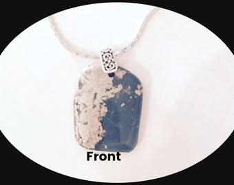 Leland Blue Stone Necklace | Leland Mi. | Pendant | Slag  Glass | Lake Michigan | Leland Peninsula | Rhodium Chain | Gift | Easter gift