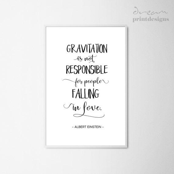 printable love quote albert einstein quote print gravitation