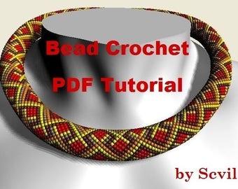 "Bead Crochet rope pattern necklace and bracelet ""Berry geometry"" Instant Download"