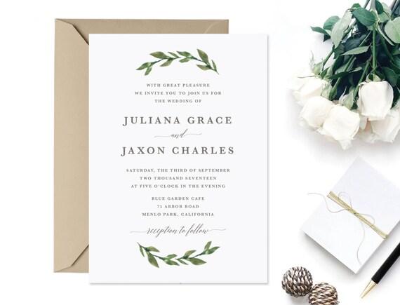 Printable Greenery Wedding Invitation By Shopthefirstlook