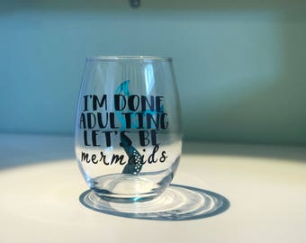 Stemless Wine Glass - Let's Be Mermaids
