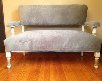 Classic Settee / Sofa: All New Upholstery, Neutral Color