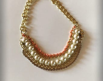 Multi strand beaded necklace, statement necklace