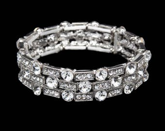 Kayla 3 Row Clear Crystal Competition Stretch Bracelet for NPC Bikini Fitness Bodybuilding Contests