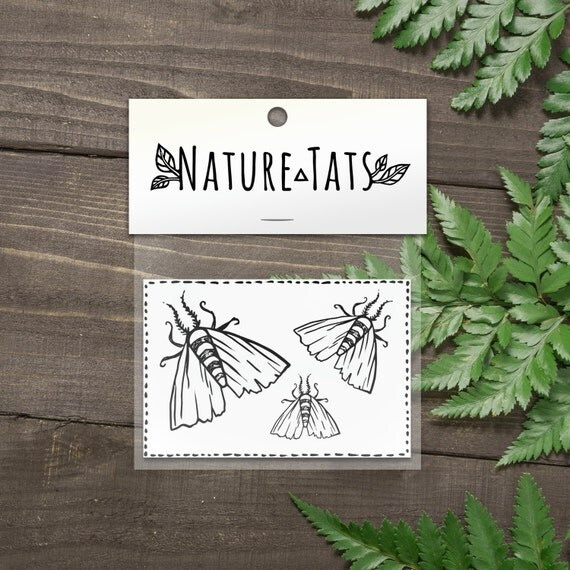 Tiny Moth Temporary Tattoos, Collection of 3, Flying Bug, Insect Tattoo, Nature Tattoo