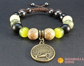 Capricorn charm jewelry Yoga beaded bracelet January birthstone bracelet Meditation bracelet for women Gift idea for birthday Green black