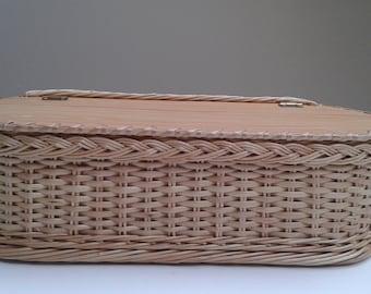 Gift box with lid, wooden wedding card box, wicker keepsake box, gift box, rustic memory box