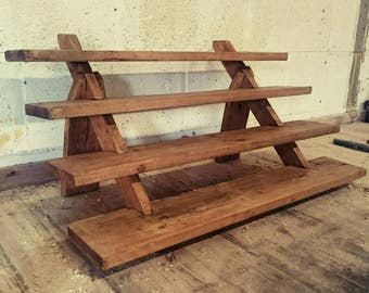Handmade Solid Reclaimed Wood Collapsible Shelf Unit.