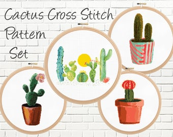 Cactus Cross Stitch Patterns Set, Modern, Cacti, Watercolor, Dessert, Counted Cross Stitch Patterns - Instant Download - PDF