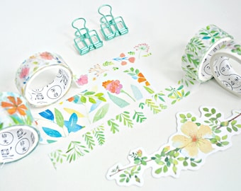 Spring Time Flowers Japanese Washi Tape, Washi Tape Set, Masking Tape, Scrapbooking Stickers, Planner Stickers - WT117