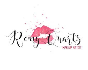 Makeup artist logo, hand written Logo & matching Watermark logo, Romatic elegant logo  - Kiss / lips - Boutique logo