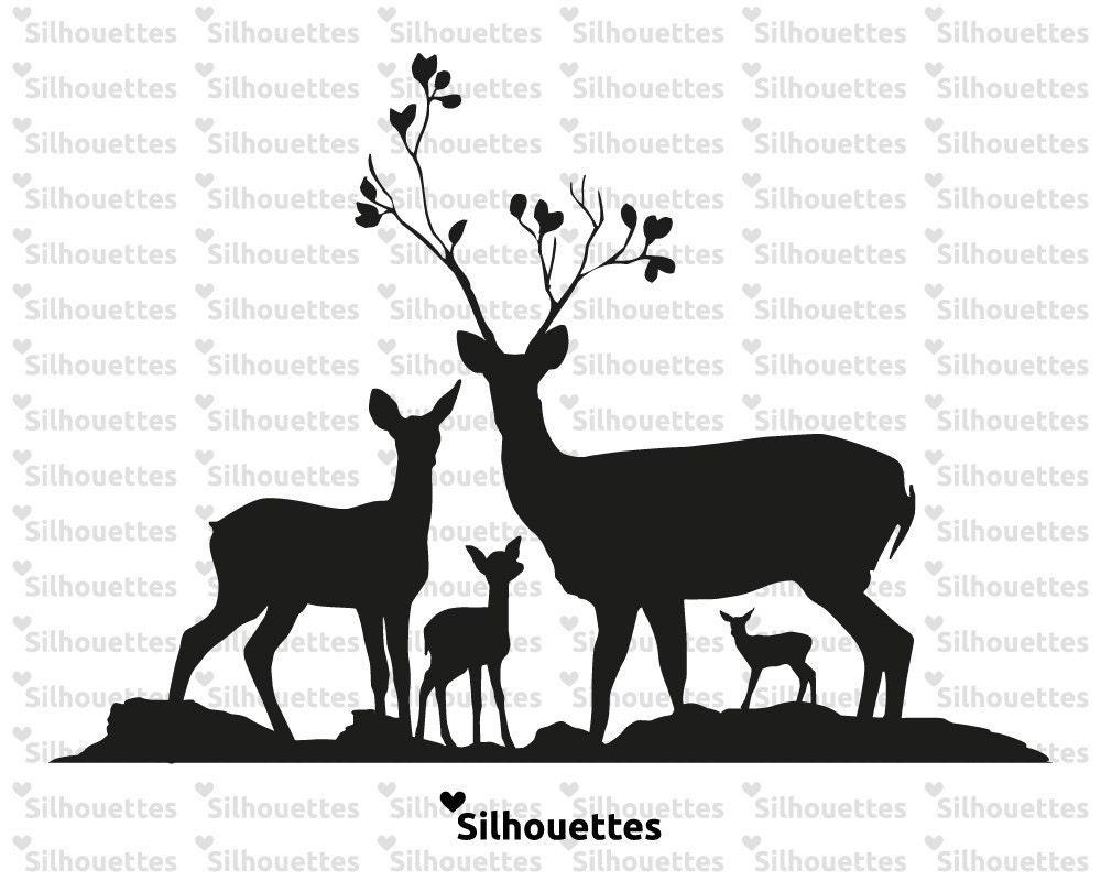 SVG   deer family - silhouette svg, dxf, eps, jpg INSTANT