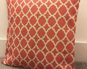 "Double-sided Contemporary coral moroccan cushion cover 18"" cotton linen"