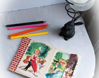 """Notebook, illustrations of book for childrens """"Caroline, Pouf and Youpi"""" de Lélio. japanese binding, Handmade, unique piece, made in France"""