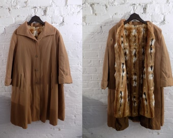 1970s Vintage Brown Wool Trench Coat with Rabbit Fur Lining - UK 10 EU 38 US 8