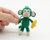 Monkey banana keychain, little Monkey, crochet Monkey, tiny green Monkey, Amigurumi Monkey, luck charm key ring, artistic monkey