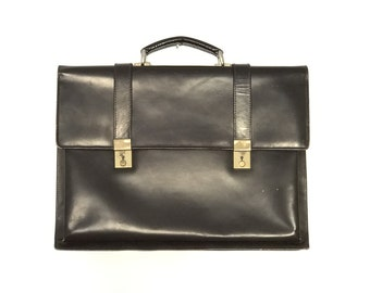 Vintage Brown Leather Briefcase // 1980s
