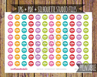 Walk Printable Planner Stickers Hiking Stickers Cut File Icon Stickers Digital Planner Stickers Fitness Stickers Exercise Rainbow Colors A38