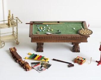 Vintage Dollhouse Game Room Set of Furniture