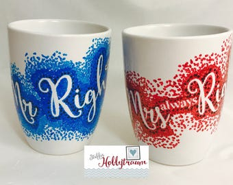 Set hand painted wedding, wedding, wedding gift, coffee cups-