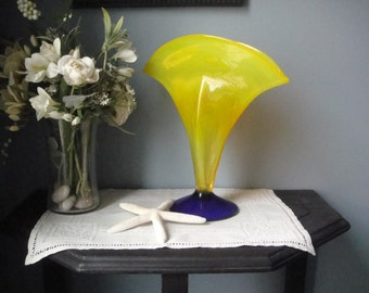 Blenko handblown and signed fluted glass vase in bright yellow and blue