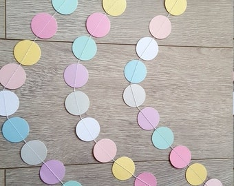 Pastel Garland, Paper Garland Party Decor, Backdrop, Nursery Decor, Pastel, Baby Shower Decor, Wedding Decor, Bridal Shower, Baby Sprinkle