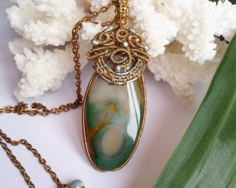 Wire wrapped Agate necklace Agate jewelry Wire wrapped jewelry handmade Silver necklace Wire wrap necklace Brass necklace Wire wrap jewelry