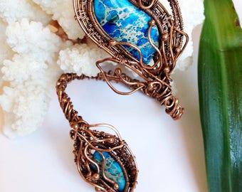 Wire wrapped bracelet Jasper bracelet Jasper jewelry copper bracelet wire wrapped jewelry copper jewelry handmade jewelry wire jewelry