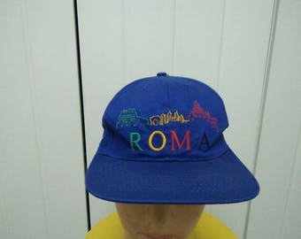 Rare Vintage ROMA Embroidered Spell Out Cap Hat Free size fit all