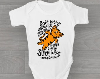 Big Bang Theory, Soft Kitty, Warm Kitty. Funny & Cute Non Personalised Baby Grow, Bodysuit Gift.