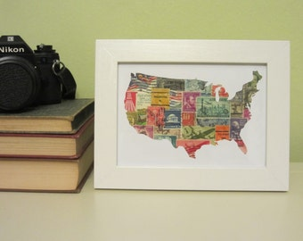 US Map Recycled Postage Stamp Wall Art (Multicolor, White Frame): 5 x 7 - framed art - original art - vintage stamps - collage art - USA map