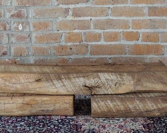 "Set of Reclaimed Barn Beams 32"" x 6"" x 4"", Set of 3 Rustic Shelves, Reclaimed Beams, Floating Shelves, Barnwood Shelves, Wall Shelves"