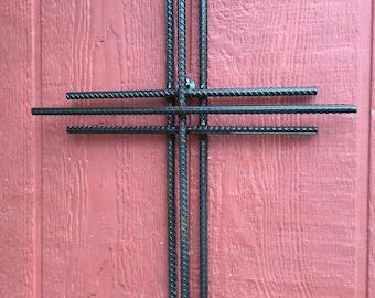 "18"" tall Layered metal wall cross"