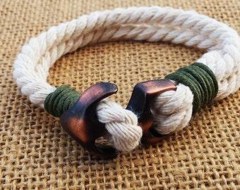 ANCHOR Bracelet Nautical Men Bracelet Mens Bracelet Cord Bracelet Rope Bracelet Cuff Bracelet Gifts For him
