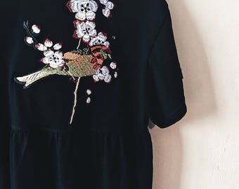Custom Project Bird Embroidery on Babydoll Top Customized The Way You Want It