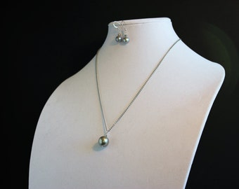 Shell Pearl Pendant and Earring Set