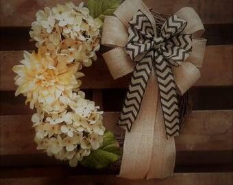 Cream Hydrangea and Dahlia Wreath, Housewarming Wreath, Everyday Wreath, Door Wreath, Spring Wreath, Summer Wreath