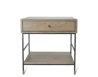 Mid Century Side Table / Nightstand -Ekais HO Line, 1-drawer storage, Ash Nightstand / Sidetable